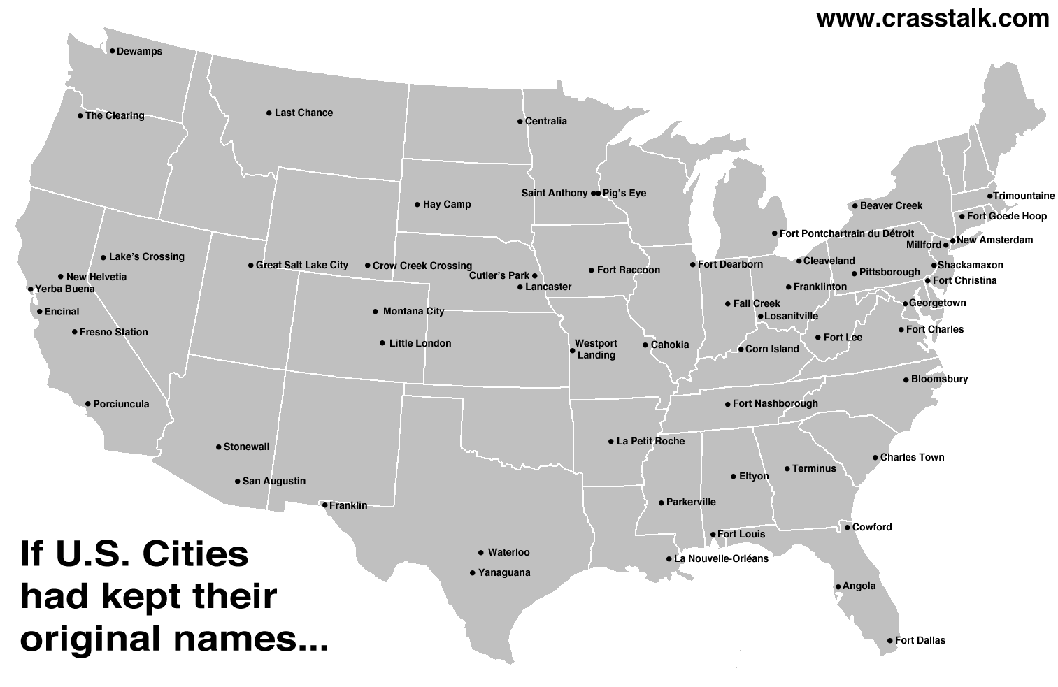 Alternate United States Map.Alternate U S Cities1 The Traveling Maps